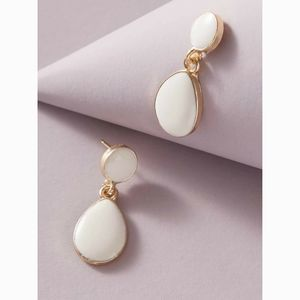 White Gold Water Drop Vintage Statement Earrings